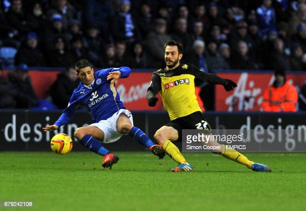 Leicester City's Anthony Knockaert and Watford's Marco Cassetti battle for the ball