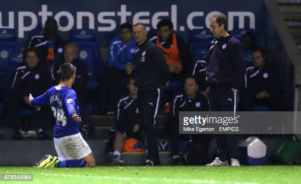 Leicester City's Anthony Knockaert celebrates scoring the second goal in front of the Sheffield Wednesday bench