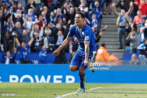 Leicester City's Argentinian striker Leonardo Ulloa celebrates after scoring their second goal from the penalty spot to equalise 22 as West Ham...