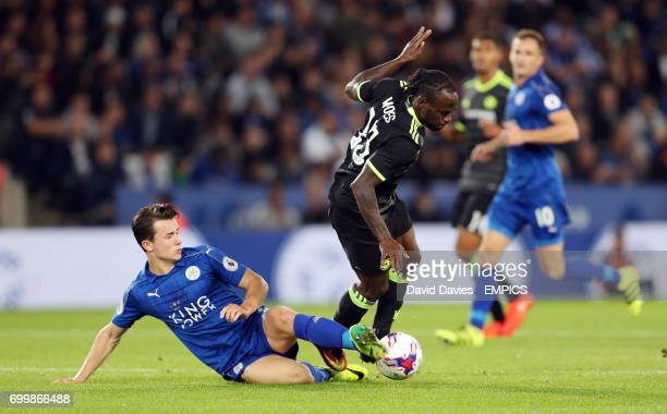 Leicester City's Ben Chilwell and Chelsea's Michy Batshuayi