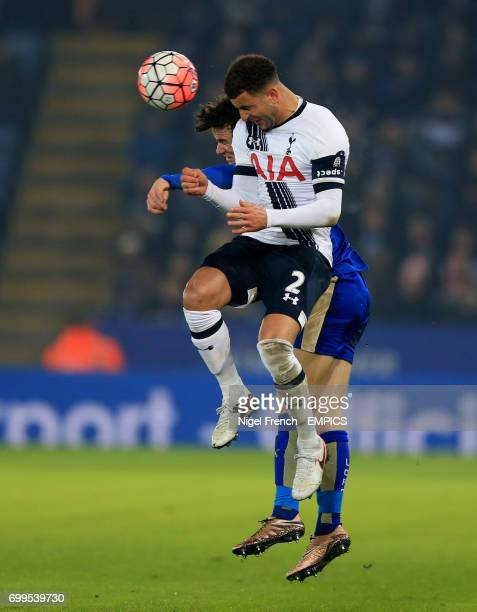 Leicester City's Ben Chilwell and Tottenham Hotspur's Kyle Walker battle for the ball