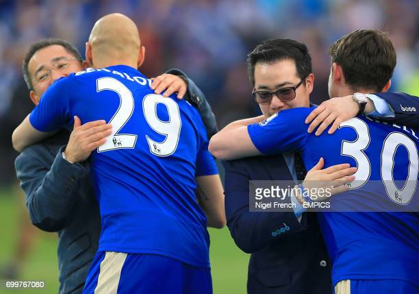 Leicester City's Ben Chilwell are congratulated by Leicester City chairman Vichai Srivaddhanaprabha and his son Aiyawatt Srivaddhanaprabha