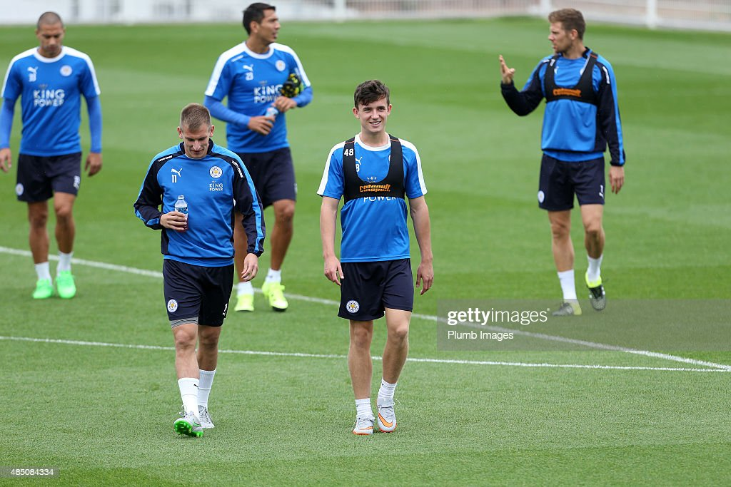 Leicester City's Ben Chilwell smiles during the Leicester City Training Session on August 24, 2015 in Leicester, United Kingdom.