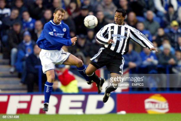Leicester City's Billy McKinlay and Newcastle United's Nolberto Solano battle for the ball