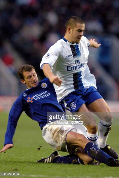 Leicester City's Billy McKinlay slides in to tackle Chelsea's Joe Cole