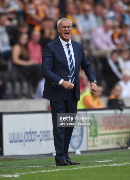 Leicester City's Claudio Ranieri reacts during the opening match of the season against Hull City