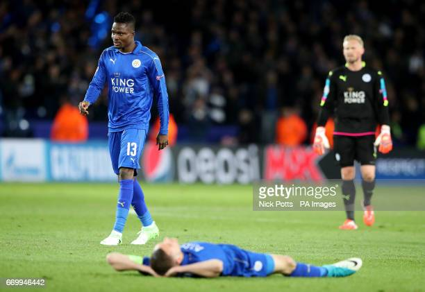 Leicester City's Daniel Amartey Kasper Schmeichel and Jamie Vardy after the second leg of the UEFA Champions League quarter final match at the King...
