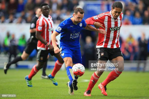 Leicester City's Daniel Drinkwater and Southampton's Virgil van Dijk battle for the ball