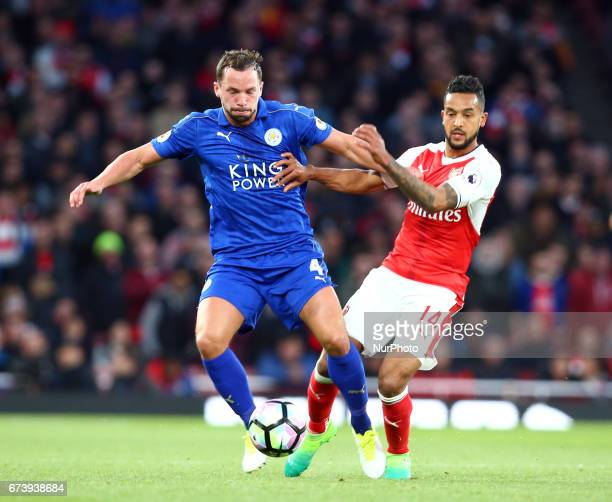 LR Leicester City's Daniel Drinkwater holds of Arsenal's Theo Walcott during the Premier League match between Arsenal and Leicester City at Emirates...