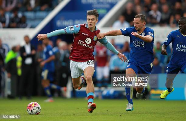 Leicester City's Danny Drinkwater and Aston Villa's Jack Grealish battle for the ball