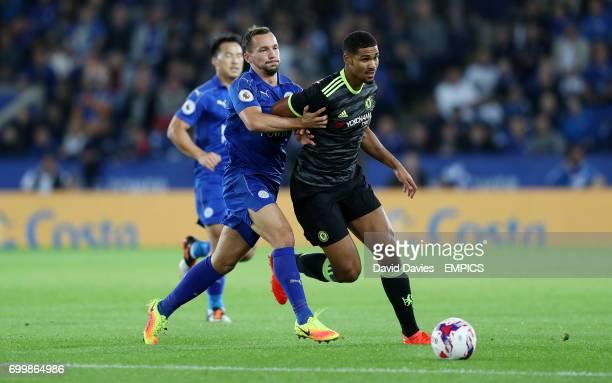 Leicester City's Danny Drinkwater and Chelsea's Ruben LoftusCheek
