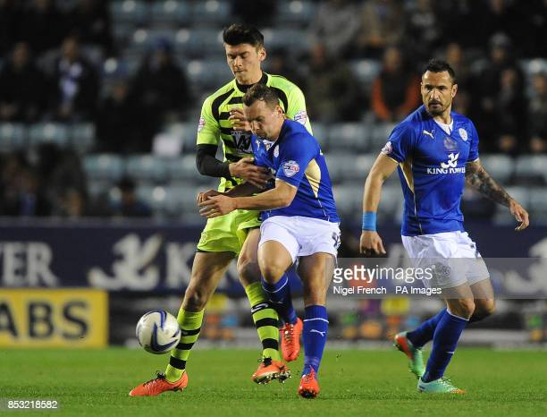 Leicester City's Danny Drinkwater and Yeovil Town's Kieffer Moore battle for the ball during the Sky Bet Championship match at the King Power Stadium...