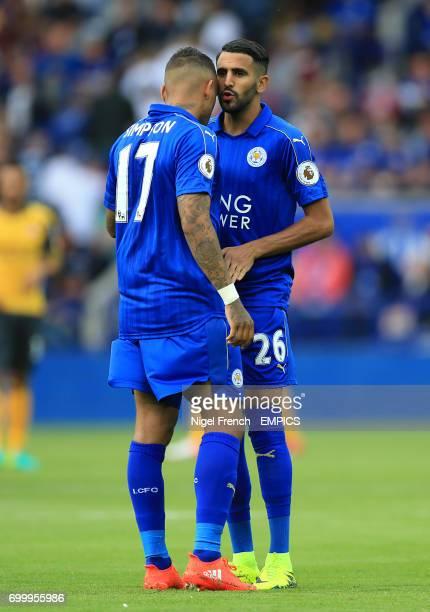 Leicester City's Danny Simpson and Riyad Mahrez