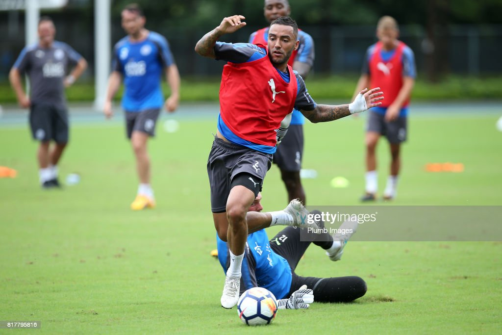 Leicester City's Danny Simpson trains in the Hong Kong heat ahead of the Premier League Asia Trophy on July 18th , 2017 in Hong Kong, Hong Kong.