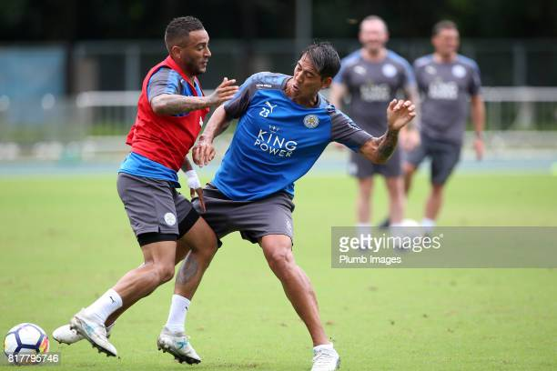 Leicester City's Danny Simpson with Leo Ulloa trains in the Hong Kong heat ahead of the Premier League Asia Trophy on July 18th 2017 in Hong Kong...