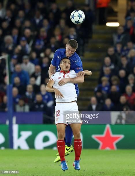 Leicester City's defender Robert Huth in action against Sevilla's striker Wissam Ben Yedder during their Champions League Round of 16 Game 2 match...