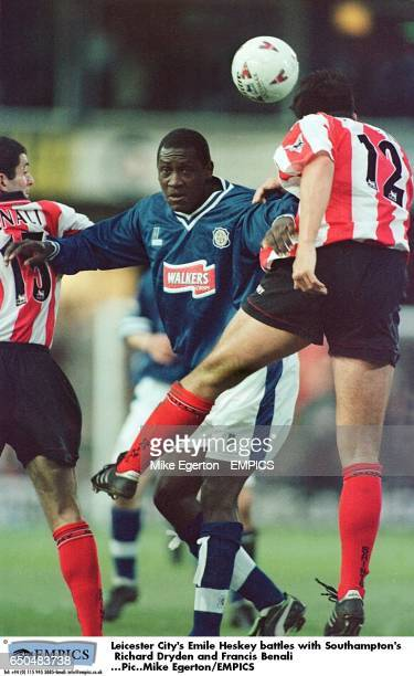 Leicester City's Emile Heskey battles with Southampton's Richard Dryden and Francis Benali