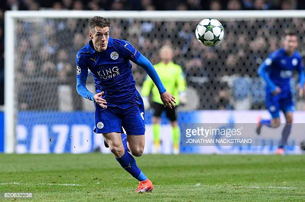 Leicester City's English forward Jamie Vardy runs after the ball during the UEFA Champions League group G football match between FC Copenhagen and...