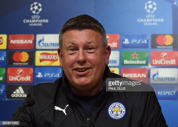 Leicester City's English manager Craig Shakespeare speaks during a press conference at The King Power stadium in Leicester central England on March...
