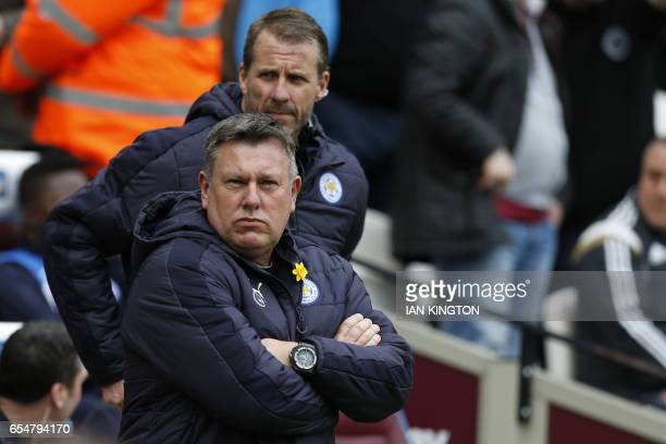 Leicester City's English manager Craig Shakespeare waits for kick off before the English Premier League football match between West Ham United and...
