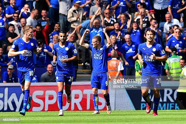 Leicester City's English striker Jamie Vardy celebrates after scoring the opening goal during the English Premier League football match between...