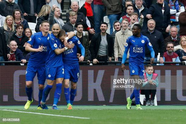 Leicester City's English striker Jamie Vardy celebrates after scoring their third goal during the English Premier League football match between West...