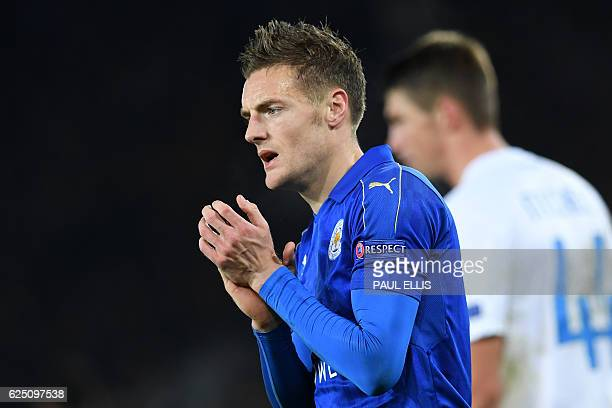 Leicester City's English striker Jamie Vardy reacts following the UEFA Champions League group G football match between Leicester City and Club Brugge...