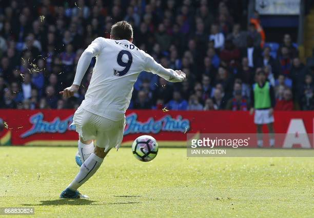 Leicester City's English striker Jamie Vardy scores Leicester's second goal during the English Premier League football match between Crystal Palace...