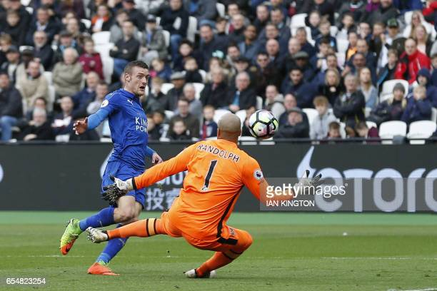 Leicester City's English striker Jamie Vardy shoots wide past West Ham United's Irish goalkeeper Darren Randolph during the English Premier League...