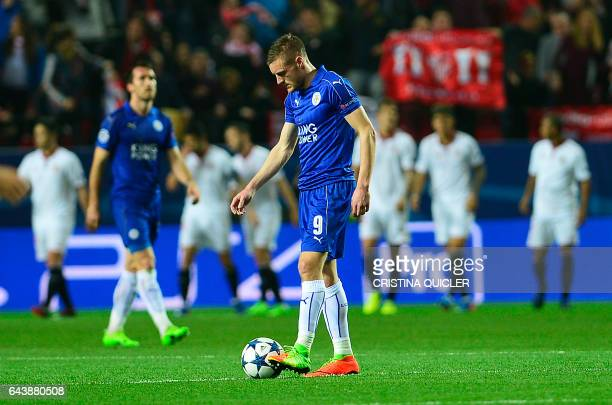 Leicester City's forward Jamie Vardy looks at the ball after a goal by Sevilla during the UEFA Champions League round of 16 second leg football match...