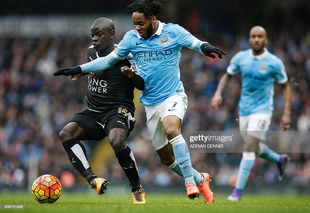 Leicester City's French midfielder N'Golo Kante (L) vies with Manchester City's English midfielder Raheem Sterling during the English Premier League football match between Manchester City and Leicester City at the Etihad Stadium in Manchester, north west England, on February 6, 2016. / AFP / ADRIAN DENNIS / RESTRICTED TO EDITORIAL USE. No use with unauthorized audio, video, data, fixture lists, club/league logos or 'live' services. Online in-match use limited to 75 images, no video emulation. No use in betting, games or single club/league/player publications. /