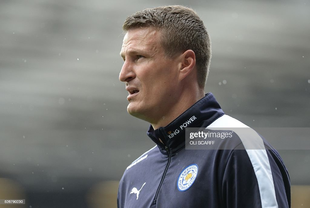 Leicester City's German defender Robert Huth warms up before the English Premier League football match between Manchester United and Leicester City at Old Trafford in Manchester, north west England, on May 1, 2016. / AFP / OLI SCARFF / RESTRICTED TO EDITORIAL USE. No use with unauthorized audio, video, data, fixture lists, club/league logos or 'live' services. Online in-match use limited to 75 images, no video emulation. No use in betting, games or single club/league/player publications. /