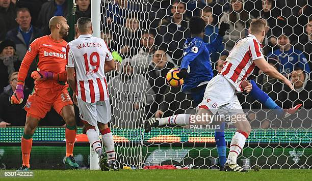 Leicester City's Ghanaian midfielder Daniel Amartey scores his team's second goal during the English Premier League football match between Stoke City...