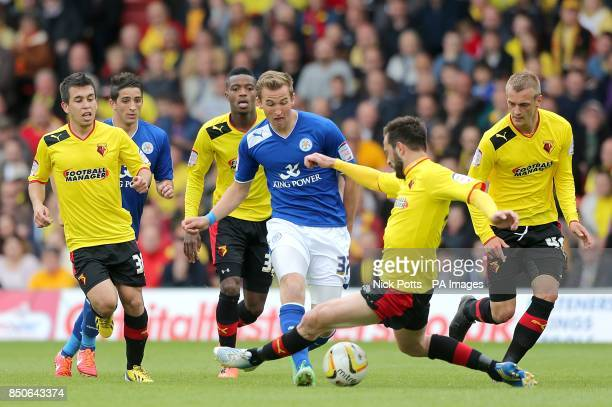 Leicester City's Harry Kane is tackled by Watford's Marco Cassetti