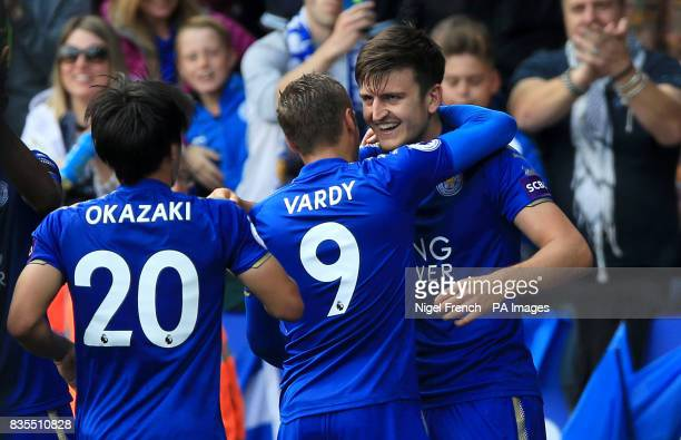 Leicester City's Harry Maguire celebrates scoring his side's second goal during the Premier League match at the King Power Stadium Leicester