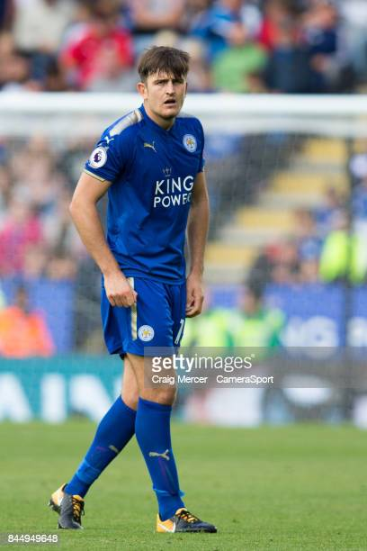 Leicester City's Harry Maguire during the Premier League match between Leicester City and Chelsea at The King Power Stadium on September 9 2017 in...