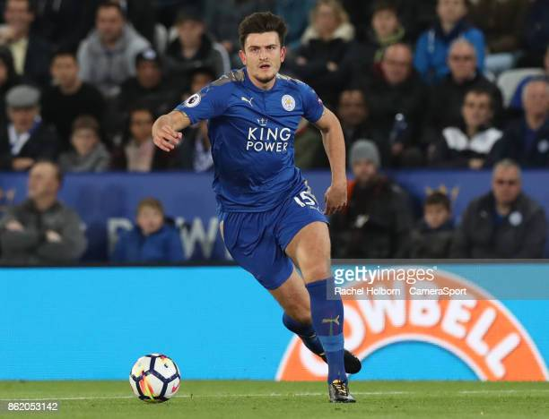 Leicester City's Harry Maguire during the Premier League match between Leicester City and West Bromwich Albion at The King Power Stadium on October...