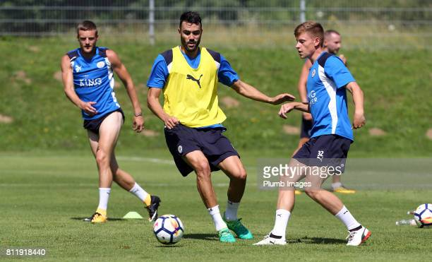 Leicester City's Harvey Barnes under pressure from Vicente Illborra during the Leicester City PreSeason tour of Austria at Velden Training Facility...