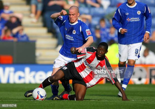 Leicester City's Iain Hume and Southampton's Bradley WrightPhillips tussle during the CocaCola Championship match at Walkers Stadium Leicester