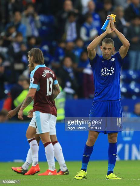 Leicester City's Islam Slimani acknowledges supporters at the end of the game