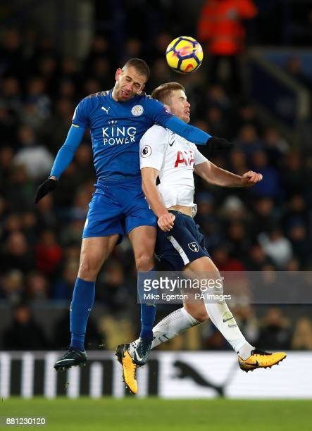Leicester City's Islam Slimani and Tottenham Hotspur's Eric Dier battle for the ball during the Premier League match at the King Power Stadium...