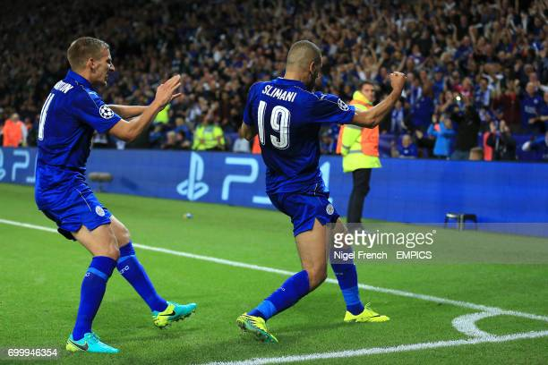 Leicester City's Islam Slimani celebrates scoring his side's first goal of the game