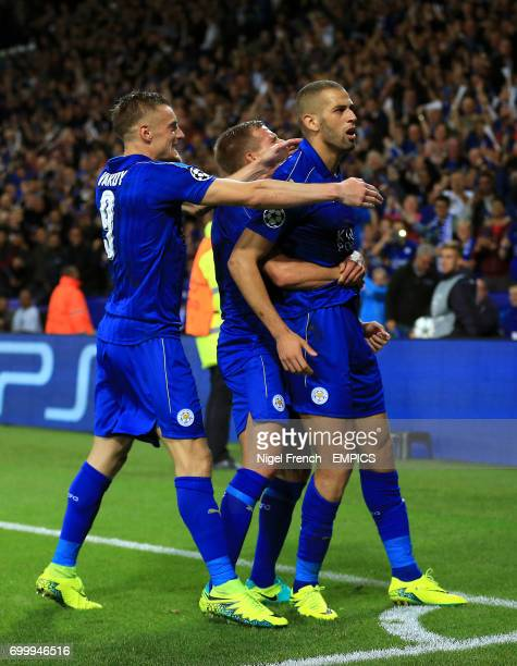 Leicester City's Islam Slimani celebrates scoring his side's first goal of the game with teammates