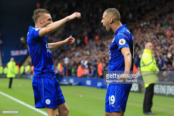 Leicester City's Islam Slimani celebrate's scoring his side's first goal of the game