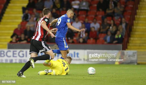 Leicester City's Islam Slimani rounds Sheffield United's goalkeeper Jake Eastwood to score his sides second goal during the Carabao Cup Second Round...