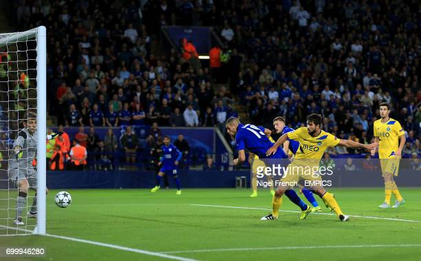 Leicester City's Islam Slimani scores his sides first goal of the game