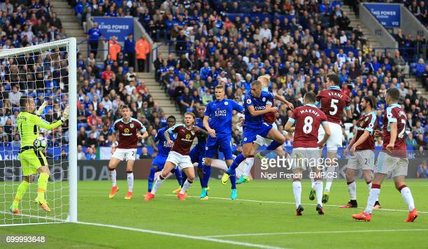 Leicester City's Islam Slimani scores his side's first goal of the game