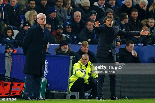 Leicester City's Italian manager Claudio Ranieri and Chelsea's Italian head coach Antonio Conte watch from the touchline during the English Premier...