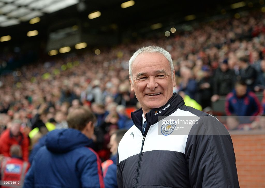 Leicester City's Italian manager Claudio Ranieri arrives for the English Premier League football match between Manchester United and Leicester City at Old Trafford in Manchester, north west England, on May 1, 2016. / AFP / OLI SCARFF / RESTRICTED TO EDITORIAL USE. No use with unauthorized audio, video, data, fixture lists, club/league logos or 'live' services. Online in-match use limited to 75 images, no video emulation. No use in betting, games or single club/league/player publications. /