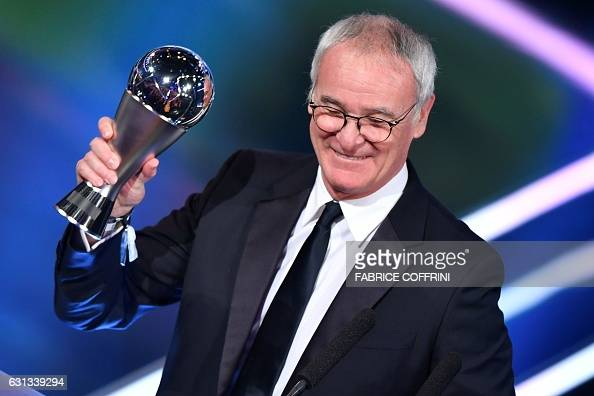 Leicester City's Italian manager Claudio Ranieri holds his trophy for The Best FIFA Mens Coach of 2016 Award during The Best FIFA Football Awards...